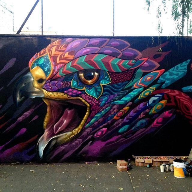"""HAWK'S CALL""  FEBRUARY 2016 Mexico City  #yokoono #2016 #streetartmilan #streetart #graffiti #graffporn #graff #arteurbano #Mexico #hawk #animal #staywild #faridrueda #artunitedus"