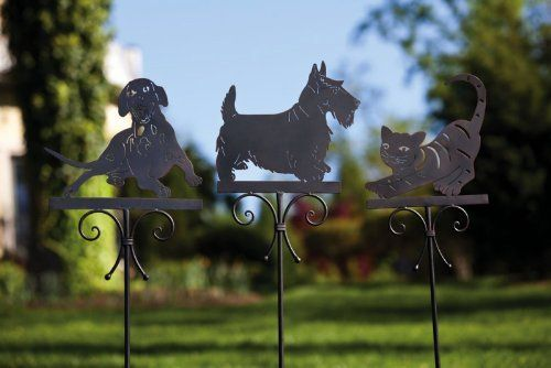 Dog Garden Stake,Metal,12.25x0.5x57.25 Inches,Assorted 3 by Ashley. $89.99