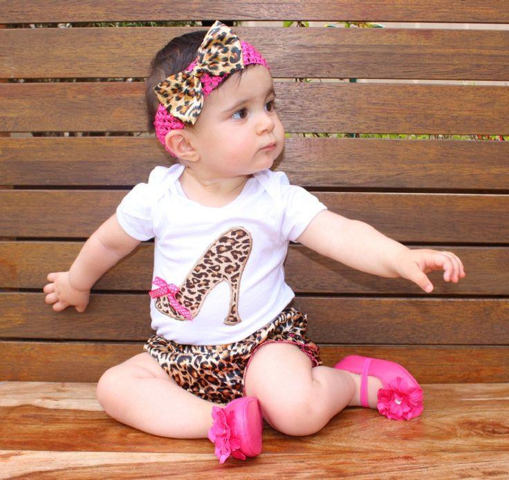 Леопарда Ребенка Ползунки Set Новорожденные 2016 Хлопок Летом Короткие SleeveBodysuit + Брюки + Повязка Оборками Девочка Комплектов Одежды
