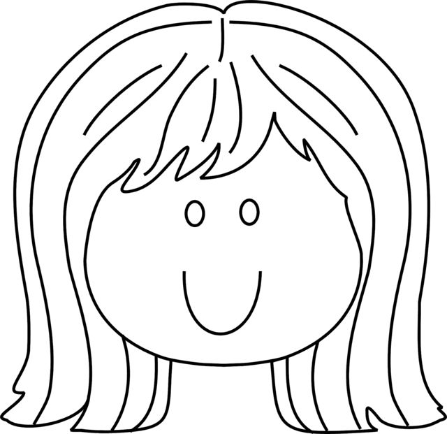 Coloring pages of little girls face and hair www Coloring book hair