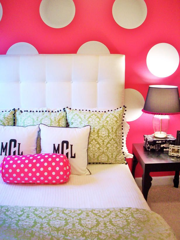 Playful Polka Dots    Rate My Space user Emily A. Clark certainly knows how to have fun with color: Inspired by the small polka-dot bolster, she replicated the pattern on the wall behind the bed.