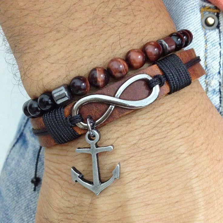 Kit pulseiras masculinas âncora navy bracelets navy anchor samballa