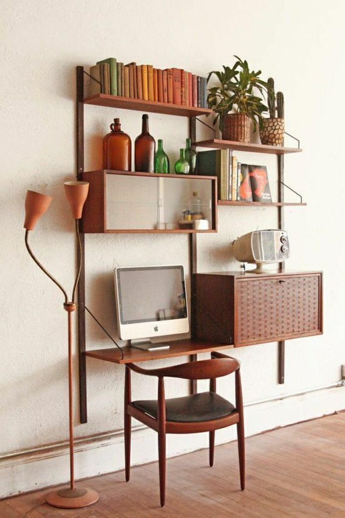 étagère murale en bois, coin de travail, bureau domicile, etagere en ...