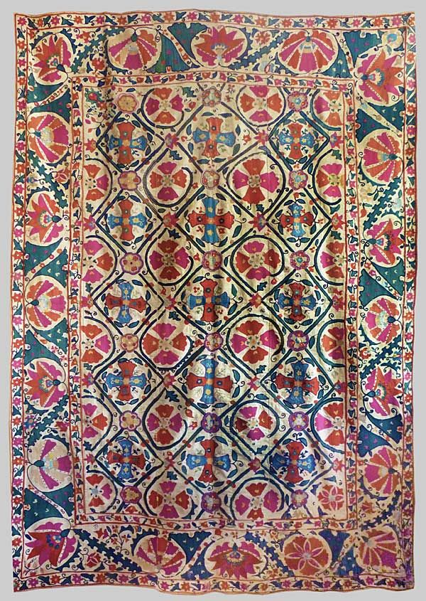 Bukhara Susani Silk embroidery on cotton dowry cover, ca. 1870, Uzbekistan.