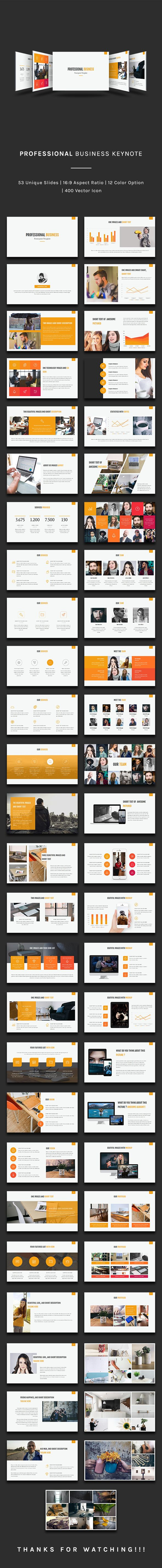 Professional Business Keynote Template - 50+ Unique Creative Slides, 400 Vector Icon