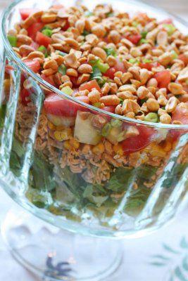 Chinese Salad - lettuce, ramen noodles, corn, tomato, onions, peanuts; dressing - sugar, s, ginger, white vinegar