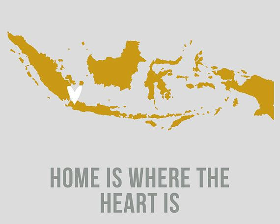 Indonesia Home is Art Print 8 x 10 inch Travel Map by EinBierBitte, $19.00 #Indonesia