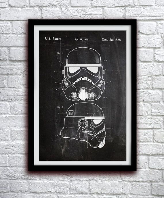 Star Wars Stormtrooper - Toy Helmet Decor - Patent Print Poster Wall Decor - 0110    Hang a piece of history in your Home, Office, Man Cave or Geek Den!    We use only archival inks and acid-free archival Luster paper in the creation of our prints and posters. Luster paper features a slight semi-gloss finish which provides the brilliant color of Glossy paper but without the glare. Its archival and has a light-fastness of 100+ years if kept out of direct sunlight!    - Choose from 3…
