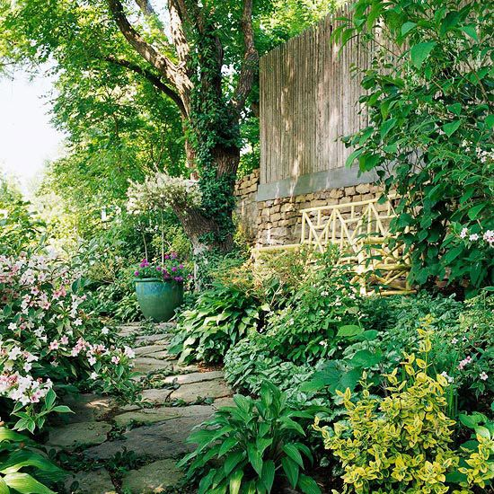 Create a Shady Escape:  A shaded side yard might seem like a hopeless situation, but you're not out of luck. Give yourself a secret, shady place to cool off and escape the hot summer sun. Make a path, then plant around it with shade-loving plants suited to your area.  Test Garden Tip: Use columnar trees to add shade and height without losing precious horizontal space.