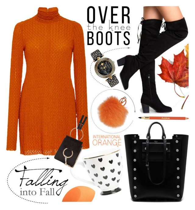 """Autumn"" by elena-777s ❤ liked on Polyvore featuring Kitx, Furla, Mulberry, Sisley, Versace, orangeandblack and autumnwinter2016"