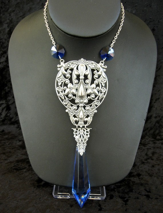 Neovictorian Bride IV  Large blue crystal by theothermagdalene, $56.00