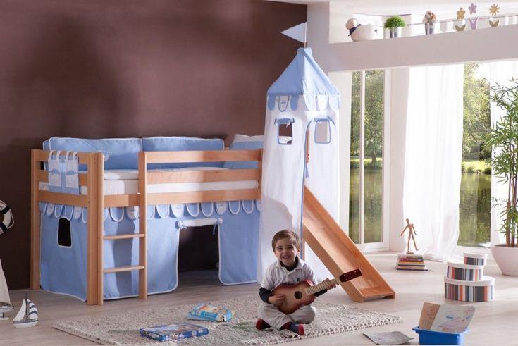 Relita Halbhochbett Alex mit Rutsche/Turm inkl. Rollrost natur lackiert Stoffset blau-Boy Jetzt bestellen unter: https://moebel.ladendirekt.de/kinderzimmer/betten/hochbetten/?uid=4c3edd4e-199c-5b08-92ee-2620d73703d8&utm_source=pinterest&utm_medium=pin&utm_campaign=boards #möbel #kinderzimmer #einrichtung #hochbetten #baby #betten