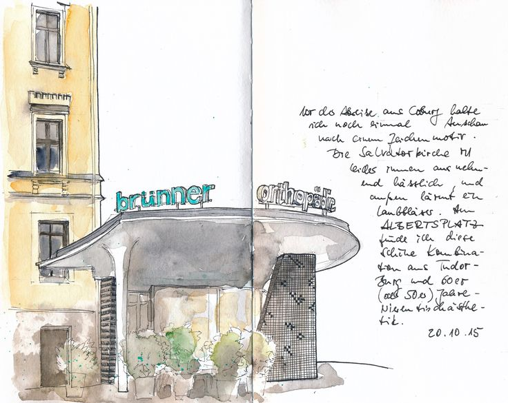 Albertsplatz, Coburg. PITT-Marker und Wasserfarbe in S&B Beta.