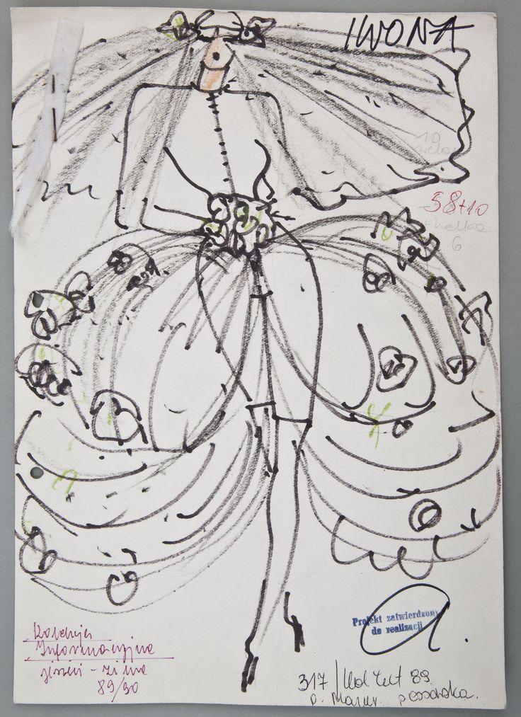 """Jerzy Antkowiak, """"Moda Polska"""", Projekt sukni ślubnej, 1989, wł. MNK #PRL #Moda Polska #Polish fashion #Jerzy Antkowiak"""