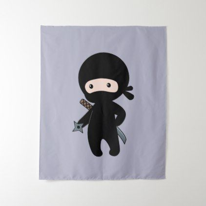Tiny Ninja Holding Throwing Star on Grey Tapestry - boy gifts gift ideas diy unique