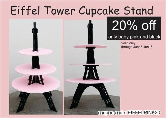 Cupcake stand Eiffel tower Painted by craftszigzag on Etsy, $40.00