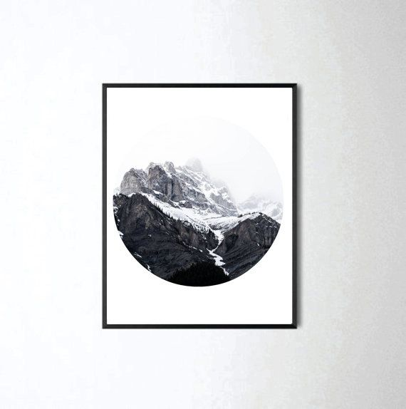 Mountain Print, Forest Print, Wall Decor, Home Decor, Bedroom Decor, Black and White Print, Landscape Photo, Circle Photography, Wall Art