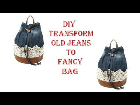 a9a369a721553 DIY transform old jeans to fancy bag/Recycle your old jeans - YouTube