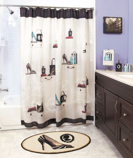 18pc fashionista bathroom set shower curtain rug towels soap pump
