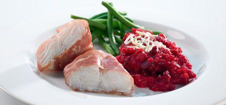 Bagt torsk med parmaskinke og rødbedekartoffelmos - Diabetes