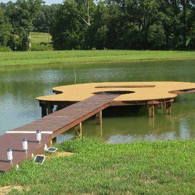 lol...totally see a guitar dock...especially for a band concert on the water!