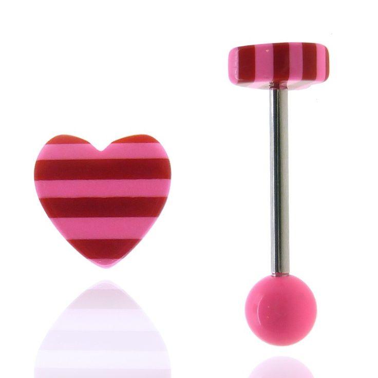 Piercing langue aux couleurs acidulées avec boule acrylique rose fluo et coeur avec rayures rose fluo.