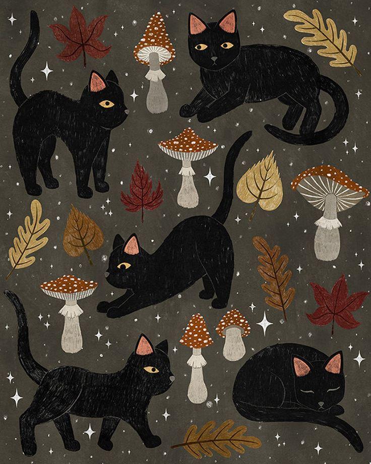 Autumn Cat Magic Print Cat Art Halloween Prints Halloween Art
