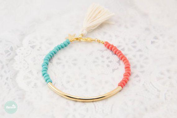 Bracelet tube or Bracelet perles bracelet bracelet de par Haneelove