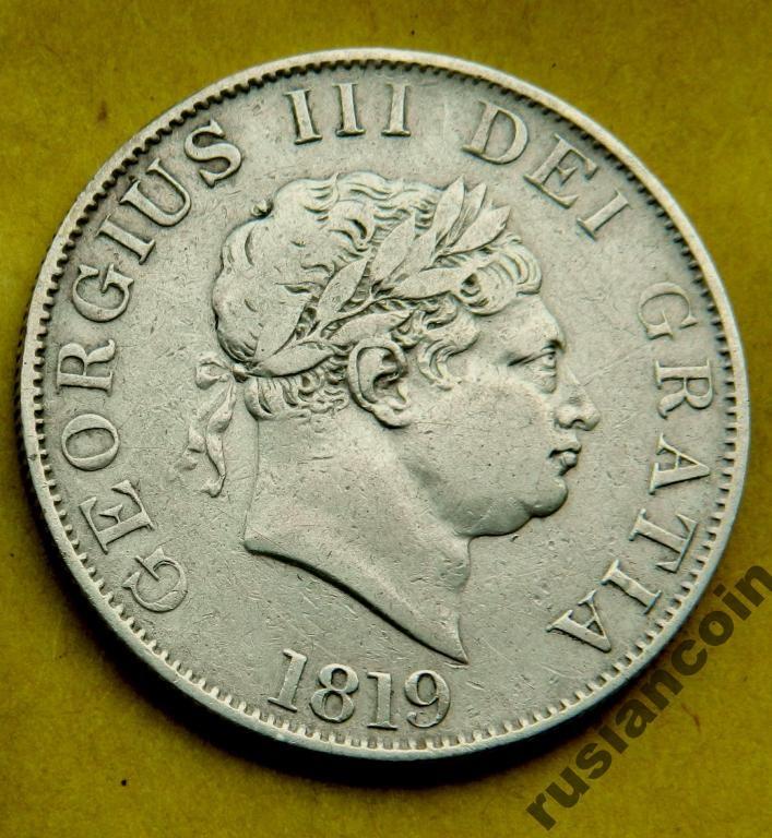 полкроны Англия 1819 ГеоргIII Бычья голова СЕРЕБРО HAlf crown 1819 Georg III