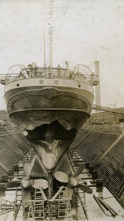Kronprinz Wilhelm getting scraped, tightened and painted ...