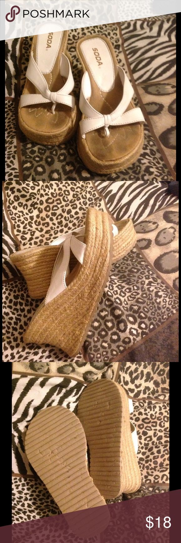 Soda White Wedge Sandals Really cute white wedge flip flop sandal Soda Shoes Sandals