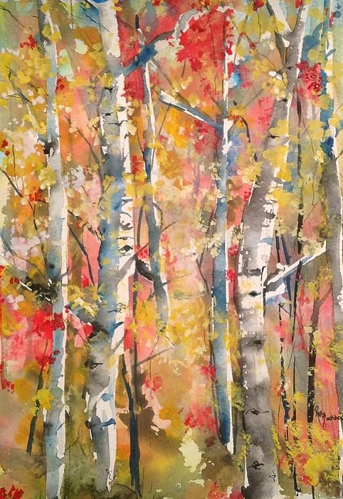 Autumn Trees Painting by Robin Miller-Bookhout - Autumn Trees Fine Art Prints and Posters for Sale