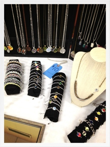 Craft Fair Jewelry Display.  The bracelet displays are rolled up felt (black acrylic sheets are available just about everywhere and they cost less than 50 cents each).