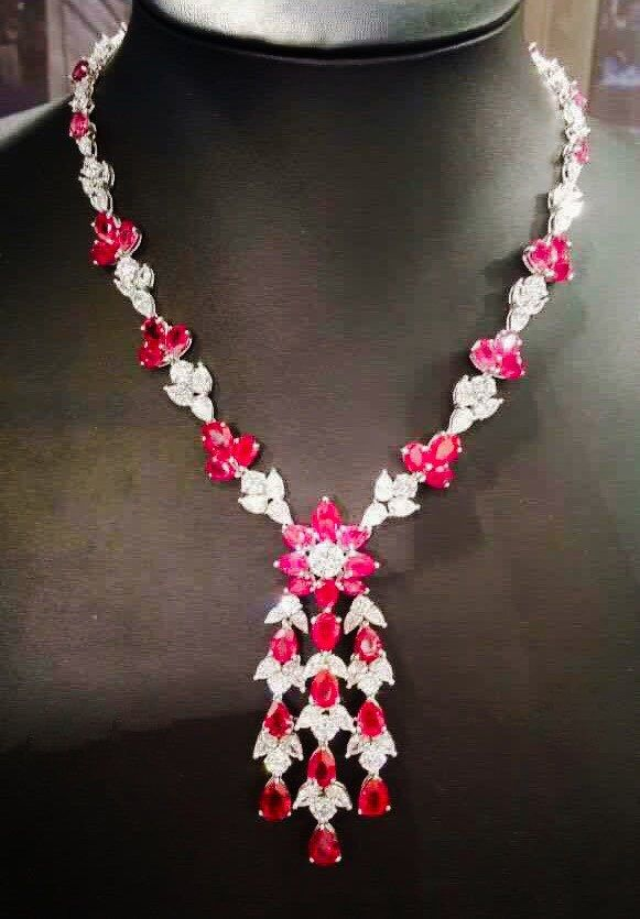 925 sterling silver red and white pear shape cz statement necklace by IsaBellaJewellery on Etsy