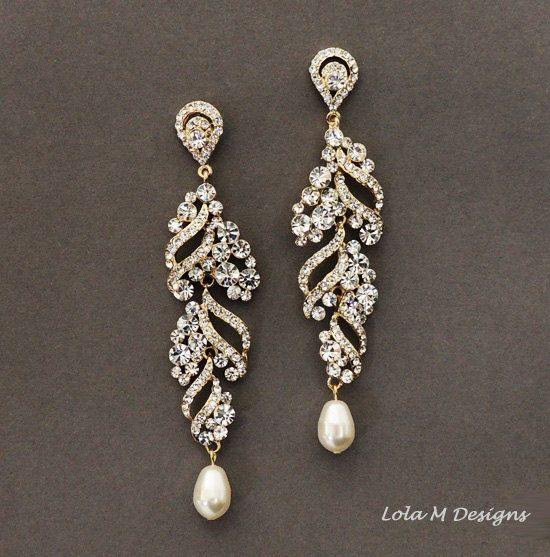 ELSA Gold wedding jewelry, bridal earrings, Gold rhinestone dangle earrings, crystal and pearl earrings, wedding accessory, bridal jewelry