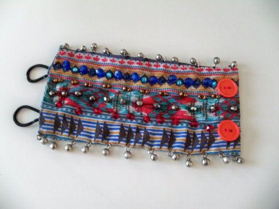 Fabric cuff bracelet Tribal wrist cuff by CalCoastCreations