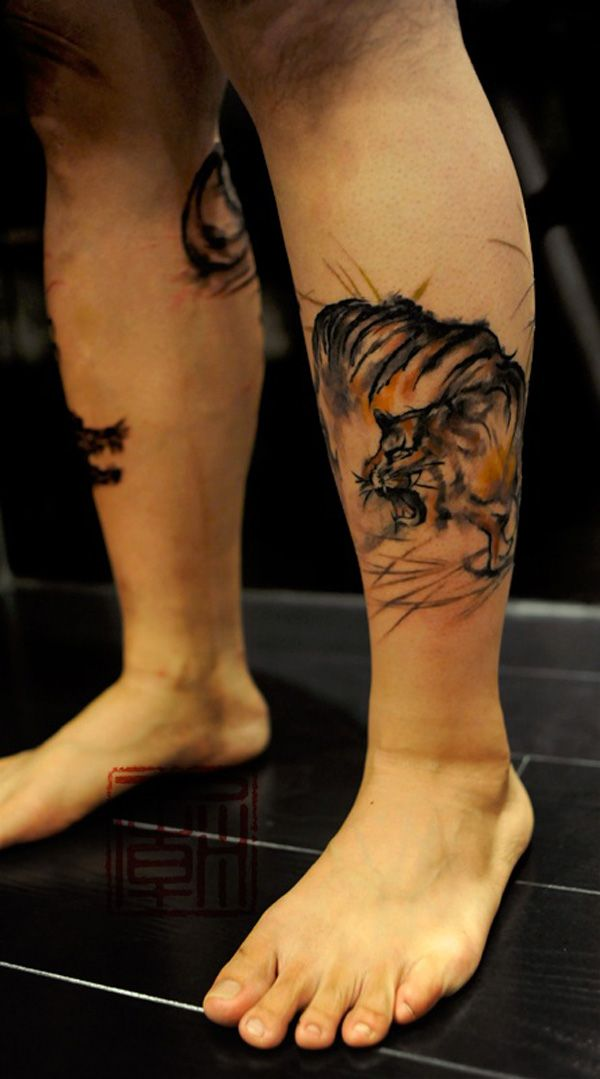 31 best Tiger Climbing Up Thigh Tattoo images on Pinterest ...