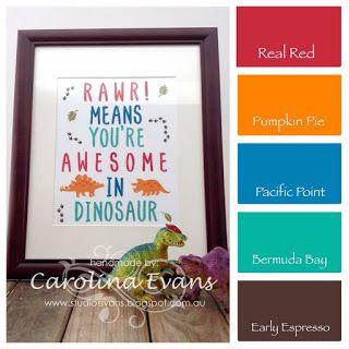 No Bones About It & Layered Letters Alphabet Stamp sets - Dinosaur Framed Art using all Stampin' Up! products 2015 2016 Carolina Evans #stampinup #dinosaurs