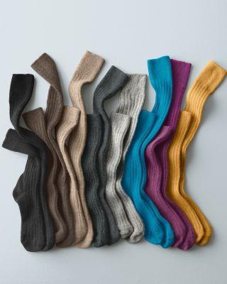 Women's Cashmere Socks - Cashmere Ankle Socks or Knee-Highs - Garnet Hill