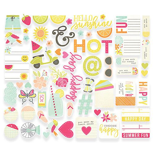 SIMPLE STORIES: Sunshine & Happiness Bits & Pieces Add that personal touch and flare to your plans with these fun die cut bits and pieces! Package includes (66) cardstock pieces.