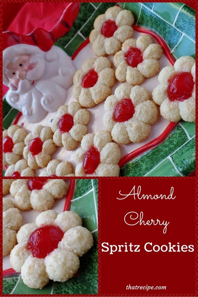 Almond Cherry Spritz Cookies: gluten free spritz cookies made with almond flour topped with a cherry. Christmas cookies. Cookie Press recipe.