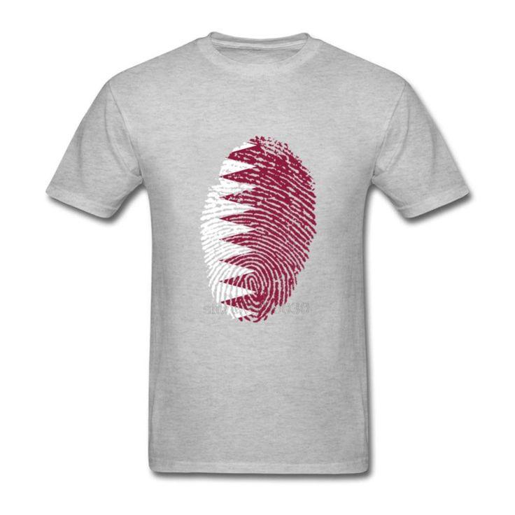 Customized Teenage Short Sleeve T Shirts Orang Cotton Streetwear T-Shirt Clothes Qatar Flag Fingerprint Hombre T Shirt Vintage #Affiliate