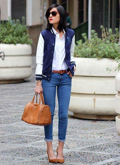 キレイ目にスタジャンの着こなしスタイル! オトナカジュアル系タイプのファッション スタイルのコーデ♡