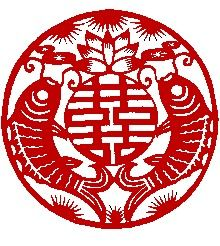 Double Happiness Symbol Feng Shui   Click to view bigger image of With a pair of fish