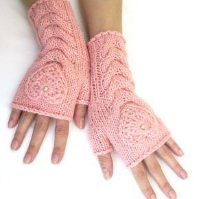 Rosa fingerlose Handschuhe der Wolle mit Herz, Fäustlinge, Armstulpen, Hand gestrickte, Eco-Friendly auf Etsy, 20,26 €