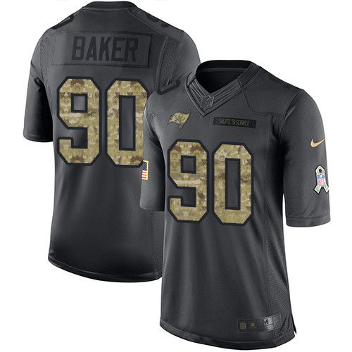 Youth Nike Tampa Bay Buccaneers #90 Chris Baker Limited Black 2016 Salute to Service NFL Jersey