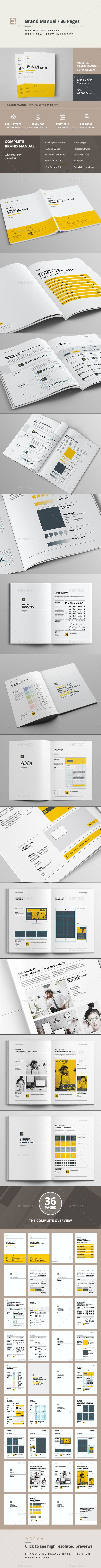 Minimal and Professional Brand Manual and Identity Brochure template for creative businesses, created in Adobe InDesign in International DIN A4 and US Letter format.