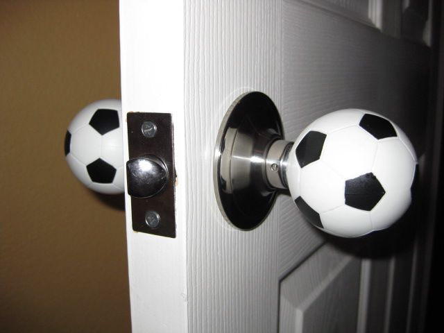 Soccer balls - what!? Although I'd want a normal looking one on the hallway side..... ($28, + shipping)
