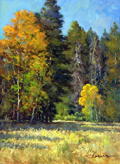 AUTUMN MEADOW by Michael Severin Oil ~ 12 Inches x 9 inches
