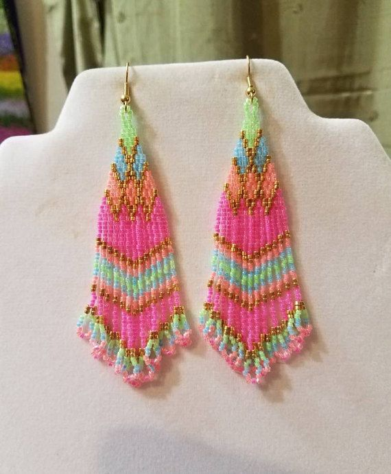 Native American Style Cotton Candy Beaded Earrings Southwestern, Bohemian, Brick Stitch, Peyote, Gypsy, Hippie, Great Gift Ready to Ship